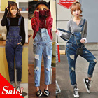 2015 new! The hole has the individuality Denim Bib / leisure Korean conjoined Pants / Suspenders //LL176
