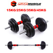 ★Cast Iron Dumbbell Set★ [FREE Gym Gloves] + [FREE 20CM Dumbbell-to-Barbell Chrome Connector] 45KG / 35KG / 25KG / 15KG + Lifetime Warranty + Local 1-2 Days Express Delivery