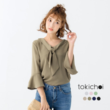 TOKICHOI - Chiffon Blouse with Bell Sleeves-170473
