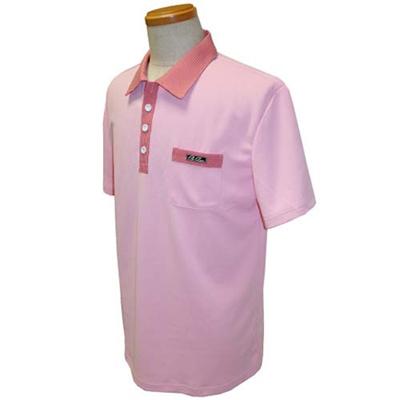 アメリカンボウリングサービス(ABS) チドリポロ メンズ AW-1404 ピンク/ワイン 【ボウリングウェア ボーリング 半袖シャツ】の画像
