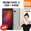 [NEWLY RELEASED!] XIAOMI REDMI NOTE 4 3GB+64GB 5.5INCH DISPLAY / DUAL SIM / MIUI 8 / EXPORT SET WITH 6 MONTHS WARRANTY!