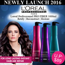 Limited qty SALE $49.90★NEW LAUNCH 2016 ★LOreal Professionnel PRO FIBER 1000ml Shampoo / Long-Lasting Repair For Damaged Hair / Conditioner Masque Leave In - Thermo Protection Prevent Heat Damage