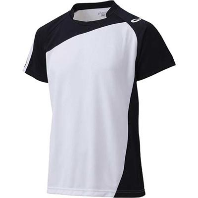 アシックス(asics)ゲームシャツHSXW1321ホワイト×ブラック【バレーボールジュニアトレーニングウェア半袖】