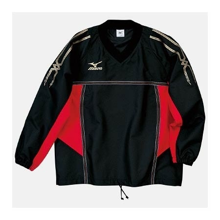 【クリックで詳細表示】ミズノ(MIZUNO) タフブレーカーシャツ A60WS15509 ブラック×レッド 【メンズトレーニングウェア ウインドブレーカー アスレ】