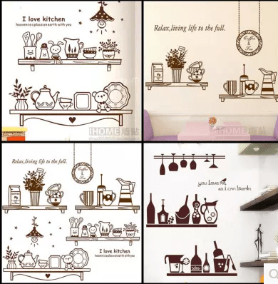 Removable Wall Stickers Cozy Living Kitchen Restaurant Dining Table Background Stickers Self Adhesiv Deals for only S$39 instead of S$0
