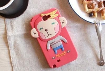 【Galaxy Note 2 SC-02E】ギャラクシー ノート ツー シリコン ケース カバー/Romane 森の仲間達シリーズ カワイイ系個性的な キャラクターバナナ猿 シリコンケース silicone case for Galaxy Note 2 (ホットピンク)の画像