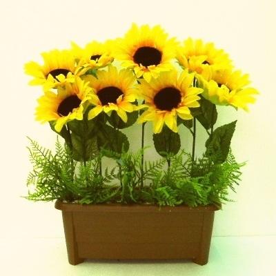 ●代引き不可送料無料ひまわり プランター夏 造花UDD触媒加工の画像