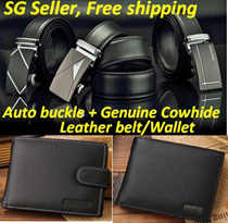Over 3000review! Mens Automatic Buckle Belt/wallet/Business Genuine Cowhide Leather Belt /Watch