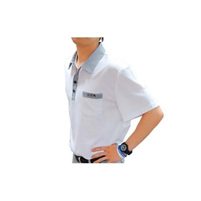アメリカンボウリングサービス(ABS) チドリポロ メンズ AW-1404 ホワイト/ブラック 【ボウリングウェア ボーリング 半袖シャツ】の画像