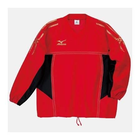 【クリックで詳細表示】ミズノ(MIZUNO) タフブレーカーシャツ A60WS15562 レッド×ブラック 【メンズトレーニングウェア ウインドブレーカー アスレ】