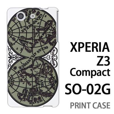 XPERIA Z3 Compact SO-02G 用『0707 世界マップ 緑』特殊印刷ケース【 xperia z3 compact so-02g so02g SO02G xperiaz3 エクスペリア エクスペリアz3 コンパクト docomo ケース プリント カバー スマホケース スマホカバー】の画像