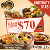 [AOne Claypot House] AONE Cash Voucher.Cash Voucher worth $70. Available at all 14 outlets.Limited Time.