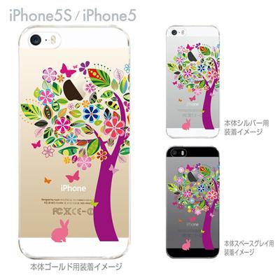 【iPhone5S】【iPhone5】【iPhone5sケース】【iPhone5ケース】【クリア カバー】【スマホケース】【クリアケース】【ハードケース】【着せ替え】【イラスト】【フラワー】【花とウサギ】 22-ip5s-ca0074の画像