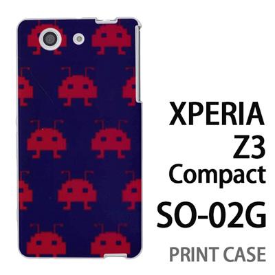 XPERIA Z3 Compact SO-02G 用『0709 インベーダー赤ドット』特殊印刷ケース【 xperia z3 compact so-02g so02g SO02G xperiaz3 エクスペリア エクスペリアz3 コンパクト docomo ケース プリント カバー スマホケース スマホカバー】の画像
