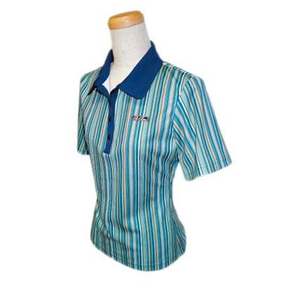アメリカンボウリングサービス(ABS) ファインストライプポロ AW-1405 ブルー 【ユニセックス ボウリングウェア ボーリング 半袖シャツ】の画像