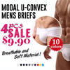 [4PCS SUPER SALE] Modal U-convex Mens Brief / Breathable and Soft Material Underwear/ The Man