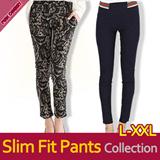 ★2015 S/S New Update Slim Fit Skinny Pants M~XXL★ Unique Waist Band Skinny Pants/Leggings/Check Pattern Pants/