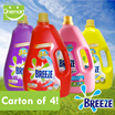 ◄ BREEZE Carton Sale ► 4 Bottles x 4.4kg Concentrated Liquid Detergent ★ 3X More Effective ★ Good for Indoor Drying ★ Power Clean 4.4kg/Colour Care 4.4kg /With Comfort 4kg