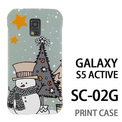 GALAXY S5 Active SC-02G 用『1207 雪だるまとツリー 水』特殊印刷ケース【 galaxy s5 active SC-02G sc02g SC02G galaxys5 ギャラクシー ギャラクシーs5 アクティブ docomo ケース プリント カバー スマホケース スマホカバー】の画像