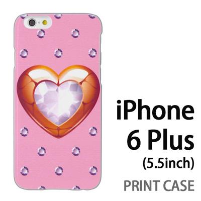 iPhone6 Plus (5.5インチ) 用『0114 ハートとダイヤ ピンク』特殊印刷ケース【 iphone6 plus iphone アイフォン アイフォン6 プラス au docomo softbank Apple ケース プリント カバー スマホケース スマホカバー 】の画像