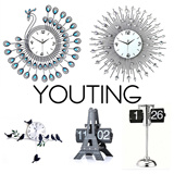 [SG50 special]unique crystal clock 3D Modern art Clock ❤Flip Clock❤Meidi Wall clock❤DIY digital creative gifts❤ little bird swing clock