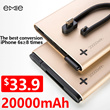 EMIE 🌟20000mAh🌟of big capacity and stability built-in 4 USB port 2 USB port with 2.1A fast charging leather exquisite appearance suitable for travel.