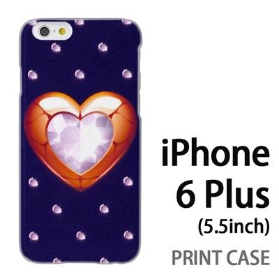 iPhone6 Plus (5.5インチ) 用『0114 ハートとダイヤ 紺』特殊印刷ケース【 iphone6 plus iphone アイフォン アイフォン6 プラス au docomo softbank Apple ケース プリント カバー スマホケース スマホカバー 】の画像