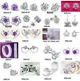 Heart Flower CZ Diamond Earrings for Girls Stud Earring Cheap Jewelry for Women Silver Plated Earings Wedding Free Shipping Assessories Ulove Jantung Bunga Stud subang Wanita