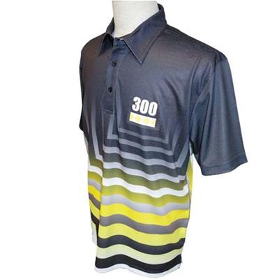アメリカンボウリングサービス(ABS) スクエアグラデポロ AW-1406 イエロー/ブラック 【ユニセックス ボウリングウェア ボーリング 半袖シャツ】の画像