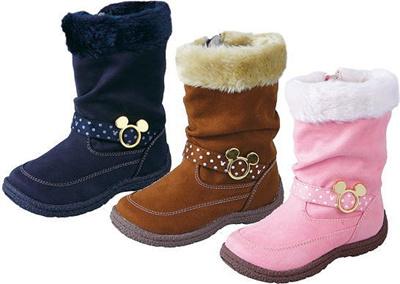 (A倉庫)【ディズニー】 DN C1108 子供ブーツ キッズブーツ 防寒ウィンターブーツ 女の子 くしゅくしゅファー付き Disney ミッキーマウスの画像