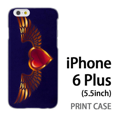 iPhone6 Plus (5.5インチ) 用『0114 羽とハート 紫』特殊印刷ケース【 iphone6 plus iphone アイフォン アイフォン6 プラス au docomo softbank Apple ケース プリント カバー スマホケース スマホカバー 】の画像