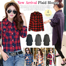 [BUY 2 FREE SHIPPING]2015 Fall New Arrival! Women Fashion Plaid Blouse/ Shirts/Korean Style Long Sleeve Blouse/ Medium Long Pattern/ Basic Blouse/Hot Item!