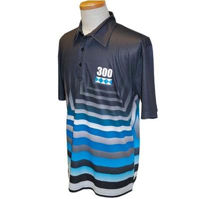 アメリカンボウリングサービス(ABS) スクエアグラデポロ AW-1406 ブルー/ブラック 【ユニセックス ボウリングウェア ボーリング 半袖シャツ】の画像
