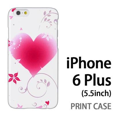 iPhone6 Plus (5.5インチ) 用『0114 花飾りのハート 白』特殊印刷ケース【 iphone6 plus iphone アイフォン アイフォン6 プラス au docomo softbank Apple ケース プリント カバー スマホケース スマホカバー 】の画像