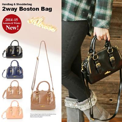 GOLD ロゴプレート 2wayショルダーボストンバッグ エナメル/ショルダーバッグ/鞄/レディース 419385 取寄商品の画像