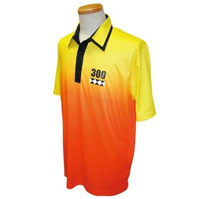 アメリカンボウリングサービス(ABS) グラデーションポロ AW-1407 イエロー/オレンジ 【ユニセックス ボウリングウェア ボーリング 半袖シャツ】の画像