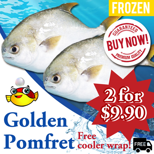 Golden Pomfret 2 FOR $9.90 FREE DELIVERY! Freshness 450-500g each! Scaled Gill and Gutted! Deals for only S$32.9 instead of S$0