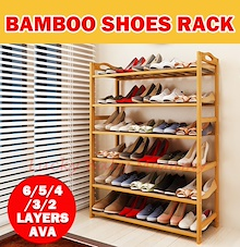 【Bamboo Shoe Rack】Storage Organizer High Heel Boot Storage Shoes Cabinet Multi-Purpose Rack