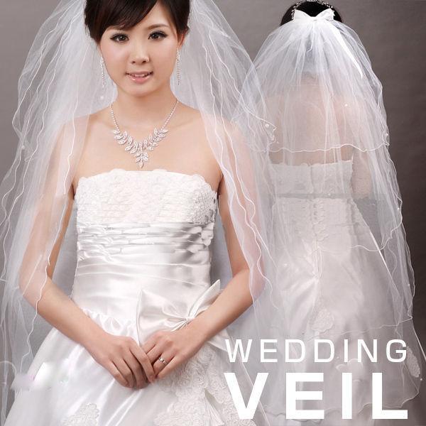 Qoo10ウエディング ベール  ロング/ウエディングベール 4層/ウエディングベールリボン ウエディング/ヴェール/ブライダル/花嫁/結婚式/オフホワイト