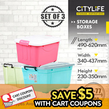[BL]★SET OF 3 STORAGE BOX COLLECTION ★[CITYLIFE PLASTIC STORAGE CONTAINER BOX LIFESTYLE ORGANIZATION