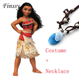 Princess Moana Cosplay Costume for Children Moana Costume with Necklace for Adult Women Halloween Co