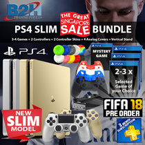 NEW PS4 Gold / Silver Slim FIFA 2018 Bundled! FIFA 2018 + 1 Non Premium Titles, Additional Dualshock Controller, Slim 3in1 Charging Stand, PSN Membership + 3 x Free Gifts. Local Stocks and Warranty!
