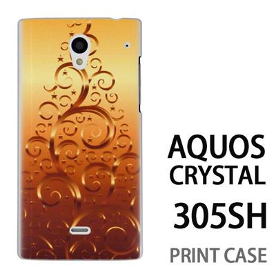 AQUOS CRYSTAL 305SH 用『1206 蔓ツリー ゴールド』特殊印刷ケース【 aquos crystal 305sh アクオス クリスタル アクオスクリスタル softbank ケース プリント カバー スマホケース スマホカバー 】の画像