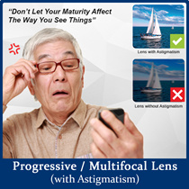 【Best Offer】Progressive / Multifocal Lens with Astigmatism ★ Comes with FREE Eye Examination ★ Hard Multi-Coating + UV400 Max UV Protection + Scratch Resistance + Easy Clean + Anti-Reflection Coating