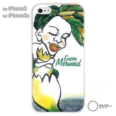 【iPhone5S】【iPhone5】【iPhone5ケース】【カバー】【スマホケース】【クリアケース】【ミュージック】【イラスト】【グリーン マーメード】 01-ip5-s005の画像