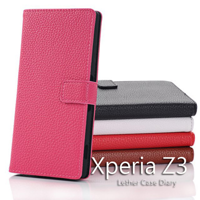Xperia Z3 au SOL26 ケース Xperia Z3 docomo SO-01G  SONY ソニ エクスペリアZ3 SO-01G カバー 手帳型 マグネットとめ手帳型 レザー調 ダイアリーケース レビューを書いてメール便送料無料の画像