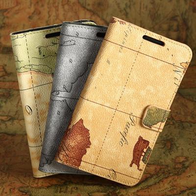 【GALAXY Note SC-05D 】 Docomo SAMSUNG GALAXY NoteGT-N7000 SC-05D用PUレザーケース スタイリッシュ 地図デザインケース/カバー カード入れ+スタンド仕様 PU Leather Case for Galaxy noteの画像