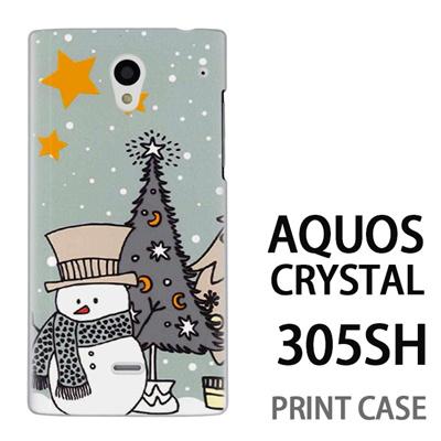 AQUOS CRYSTAL 305SH 用『1207 雪だるまとツリー 水』特殊印刷ケース【 aquos crystal 305sh アクオス クリスタル アクオスクリスタル softbank ケース プリント カバー スマホケース スマホカバー 】の画像