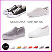 popular ★ ☆ quilting platform slip / canvas shoes / shoes / slip-on shoes / sneakers / platform