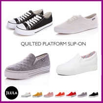 popular ★ ☆ [Free Shipping] quilting platform slip / canvas shoes / shoes / slip-on shoes / sneakers / platform / easy to walk / trend / casual / sporty women / ladies platform/ Renben